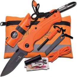 Elk Ridge Survival Knife W/Kit (Color: Orange)