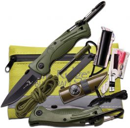 Elk Ridge Survival Knife W/Kit (Color: Green)