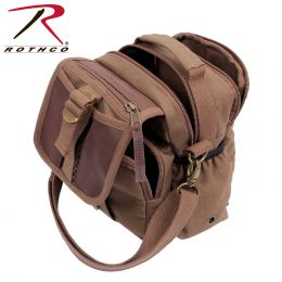 Rothco Canvas & Leather Travel Shoulder Bag (Color: Brown)