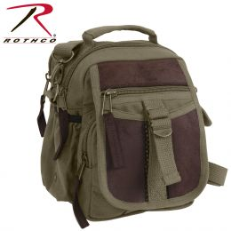 Rothco Canvas & Leather Travel Shoulder Bag (Color: Olive Drab)