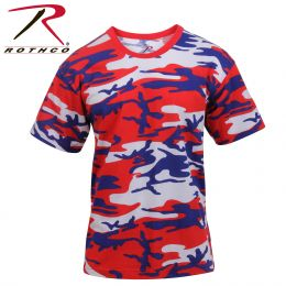 Rothco Camo T Shirt (Colored) (Color: Red / White / Blue, size: S)