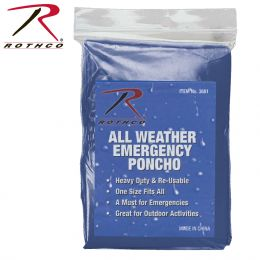 All Weather Emergency Poncho (Color: Blue)