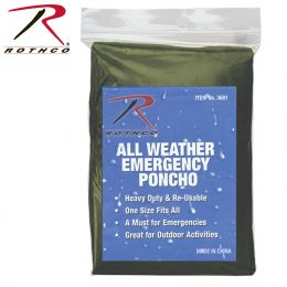 All Weather Emergency Poncho (Color: Olive Drab)
