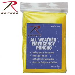 All Weather Emergency Poncho (Color: Yellow)