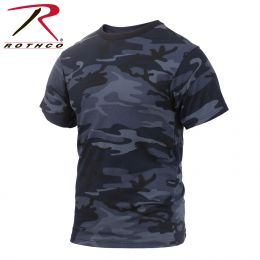 Rothco Camo T Shirt (Colored) (Color: Midnight Blue Camo, size: S)