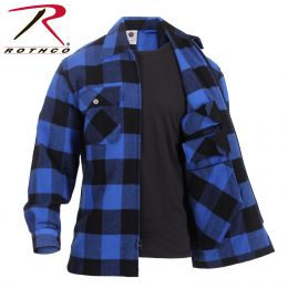 Concealed Carry Shirt by Rothco - Long Sleeve Heavyweight Flannel (Color: Blue, size: S)