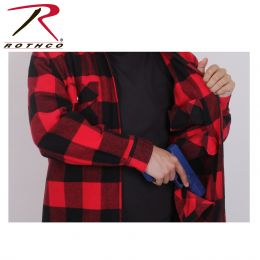 Concealed Carry Shirt by Rothco - Long Sleeve Heavyweight Flannel (Color: Red, size: S)