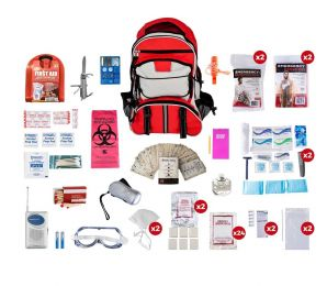 2 Person Deluxe Survival Kit (72+ Hours) SKX2 (Color: Red Backpack)