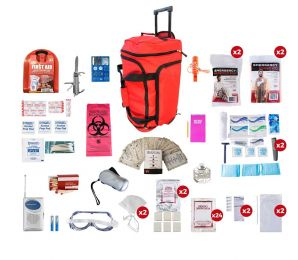 2 Person Deluxe Survival Kit (72+ Hours) SKX2 (Color: Red Wheeled)